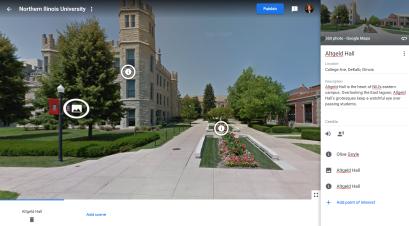 Development interface of Google VR Tour Creator.