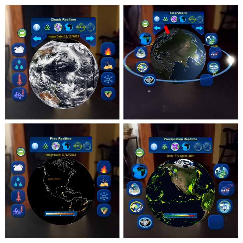 Different data views from HoloGLOBE.
